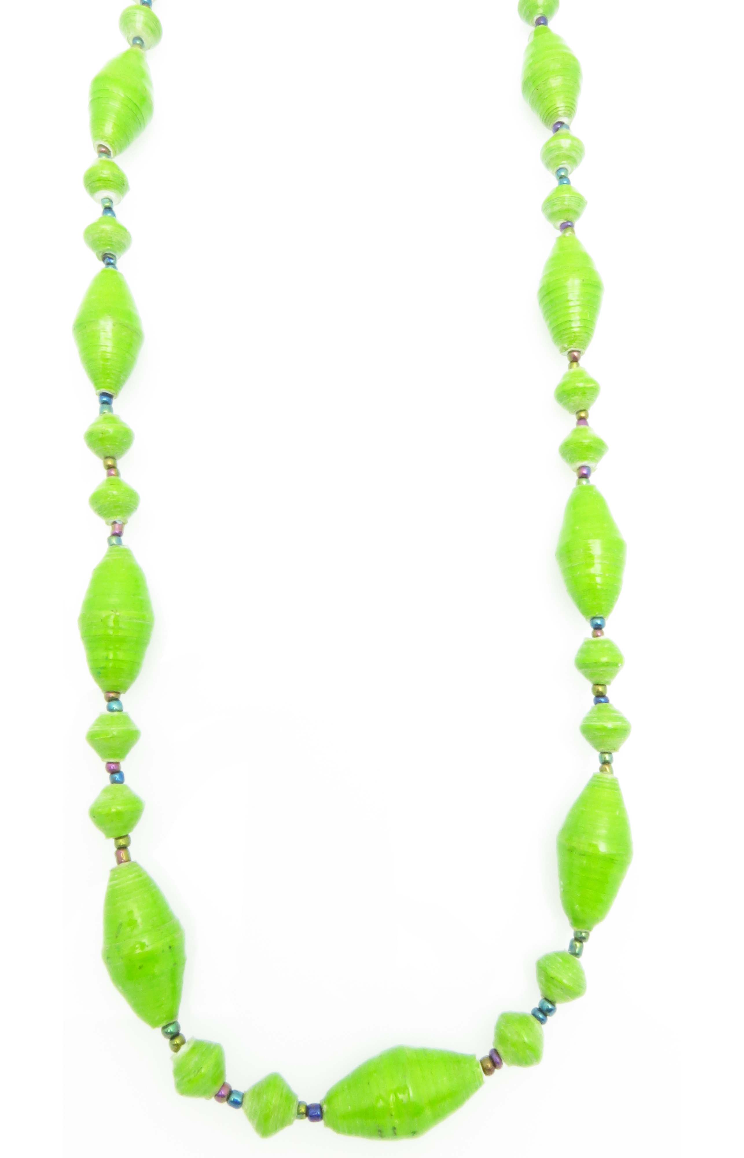 Lime green oval bead necklace
