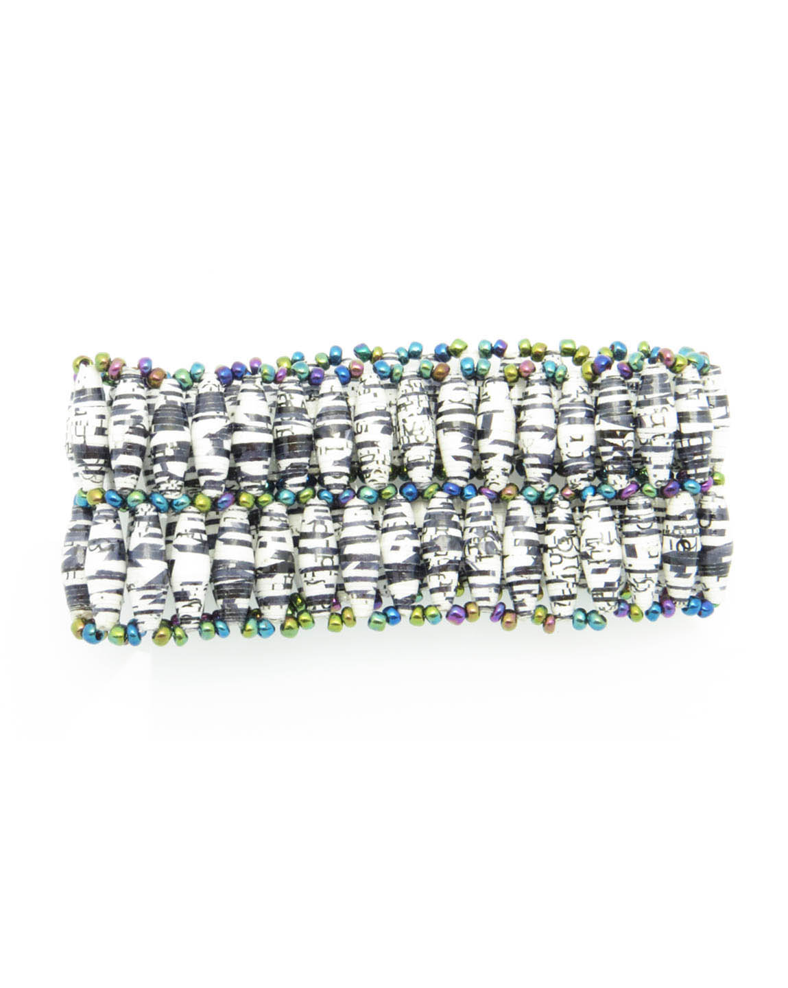 Black & white mixed double wide bracelet