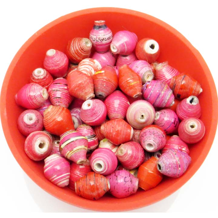 Mini cone beads - red & pink mix