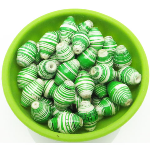 Green & white striped beads