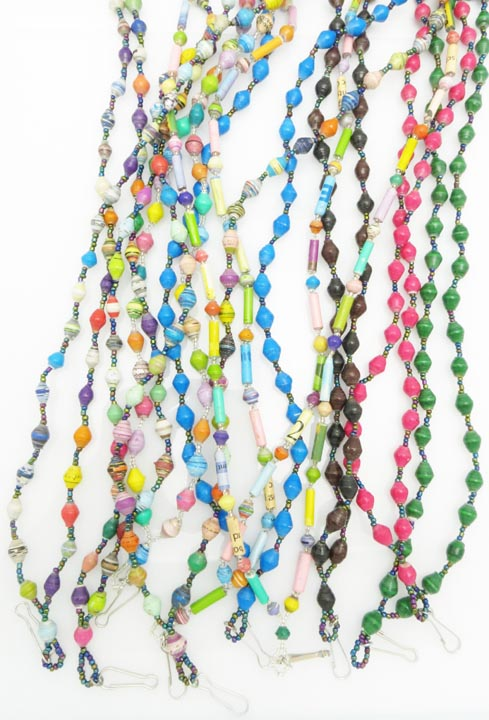 Paper bead lanyards - variety pack of 10
