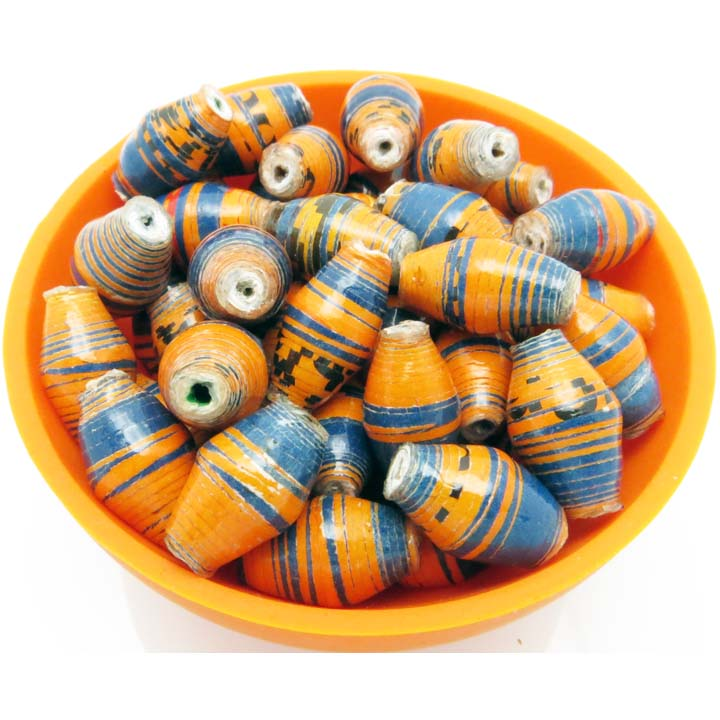 Blue & orange striped beads