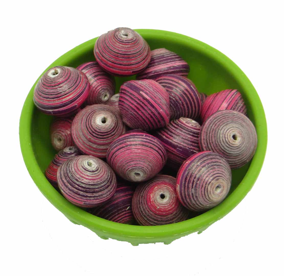 Round beads - purple & pink striped