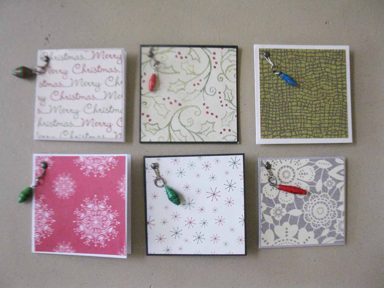 Gift enclosure card - holiday patterned w/bead