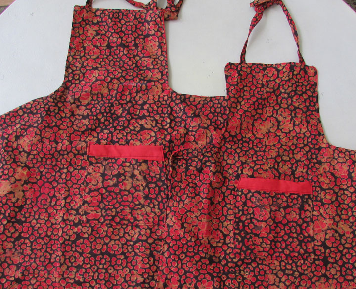 *Apron - orange-red golden tan batik